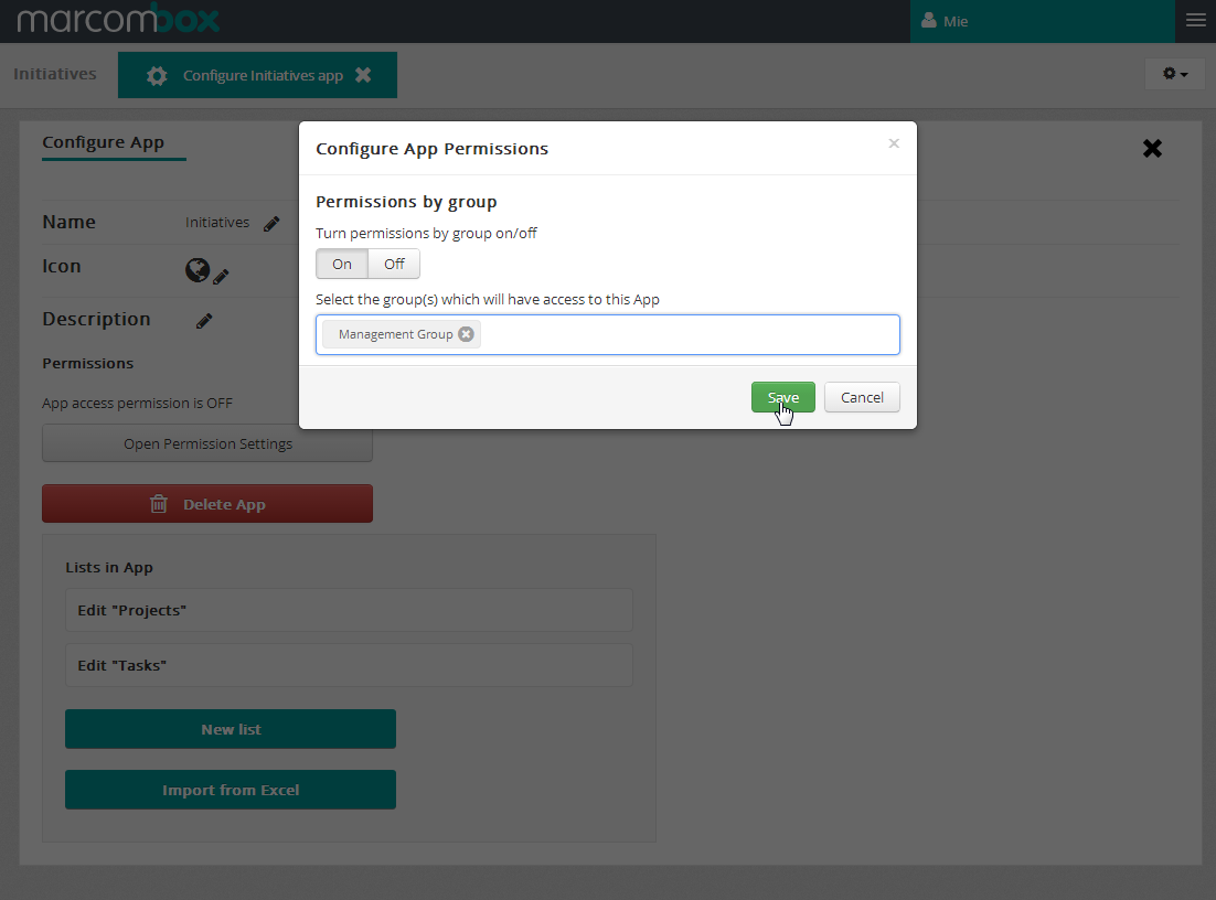 Assign app permission to user group