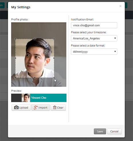 User photo_My settings_Vincent Cho